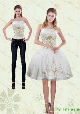 2015 Detachable Pretty Strapless Knee Length White Prom skirts with Appliques