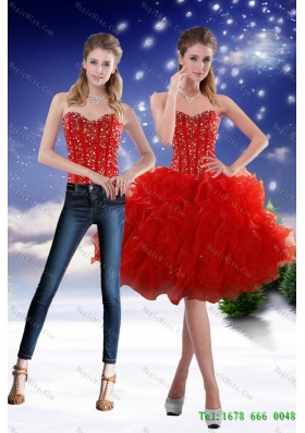 Luxurious 2015 Detachable Sweetheart Red Prom skirts with Beading and Ruffles