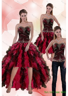 Affordable 2015 Detachable Sweetheart Multi Color Prom skirts with Beading and Ruffles