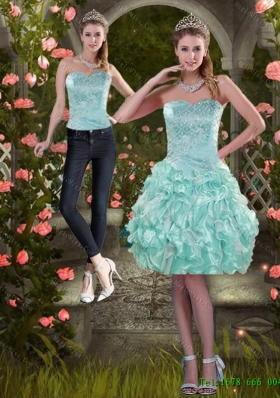 Classical 2015 Detachable Strapless Prom Skirts with Beading and Ruffles