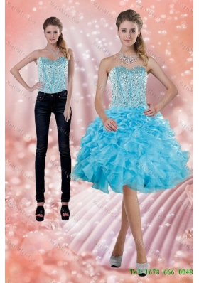 2015 Detachable Fitting Baby Blue Prom  Skirts with Beading and Ruffles