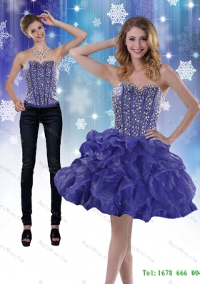 Modest 2015 Detachable Sweetheart Royal Blue Prom  Skirts with Beading and Ruffles