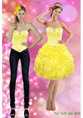 Pretty 2015 Detachable Sweetheart Yellow Prom  Skirts with Beading and Ruffles