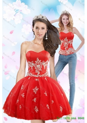 Luxurious 2015 Detachable Sweetheart Appliques Prom Skirts in Red