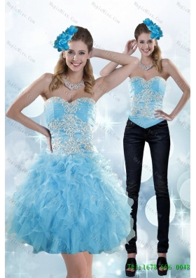 Detachable Exclusive Appliques and Ruffles Sweetheart Aqua Blue Prom Skirts for 2015