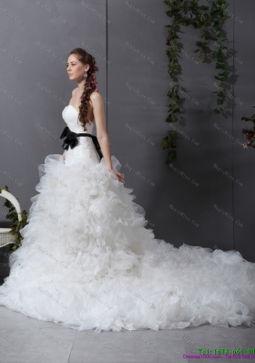 White Chapel Train Ruffled Wedding Dresses with Black Waistband