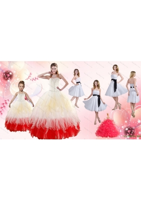 Multi Color Strapless Beading Quinceanera Dress and White Strapless Ruching Prom Dresses and  Halter Top Beading Little Girl Dress