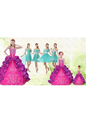 Spaghetti Straps Pick Ups 2015 Quinceanera Dress and Short Pretty Dama Dresses and Multi Color Little Girl Dress