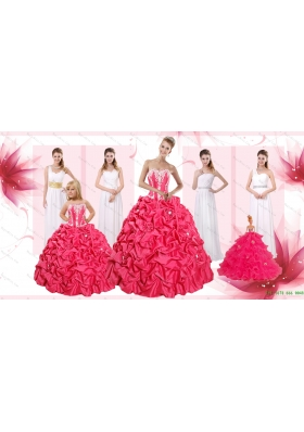 Appliques and Pick Ups Quinceanera Dress and White Long Dama Dresses and Strapless Flower Girl Dress