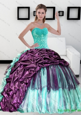 2015 Multi-Colored Sweetheart Quinceanera Dress with Pick up and Ruffles