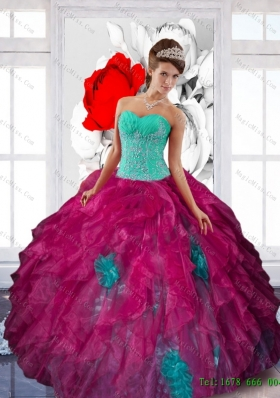 Multi-Colored Sweetheart Appliques and Ruffles Sweet Sixteen Dresses in Multi Color
