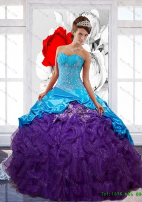 Multi-Colored Sweetheart Ruffles Sweet 16 Dresses with Appliques and Pick Ups
