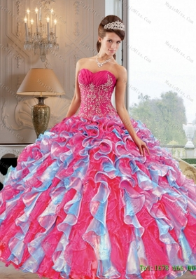 2015 Multi-Colored Ball Gown Quinceanera Dress with Appliques and Ruffles