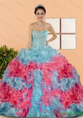Multi-Colored Multi Color 2015 Sweet 15 Dresses with Beading and Ruffles