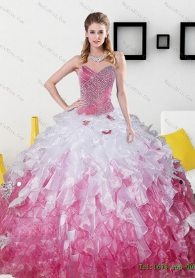2015 Multi-Colored Sweetheart Sweet 15 Dresses with Beading and Ruffles