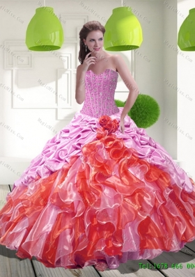 2015 Multi-Colored Pick Ups and Ruffles Sweet 15 Dresses in Multi Color