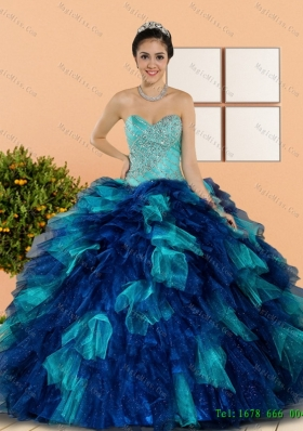 Multi-Colored Sweetheart Beading and Ruffles Quinceanera Dresses