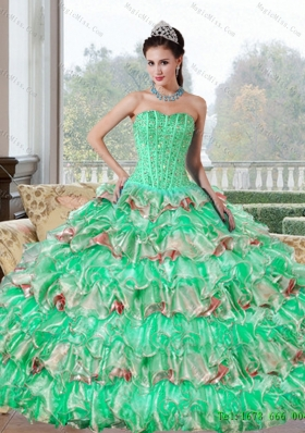 Multi-Colored Beading and Ruffled Layers Quinceanera Dresses for 2015