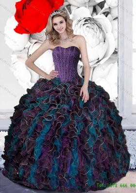 2015 Multi-Colored Beading and Ruffles Quinceanera Dresses in Multi Color