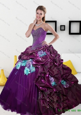 c447ea98247 2015 New Style Sweetheart Quinceanera Dresses with Pick Ups and Appliques