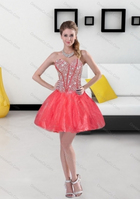 2015 Remarkable Beading Short Prom Dresses in Coral Red