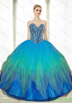 2015 Low Price Beading Sweetheart Tulle Turquoise Quinceanera Dresses