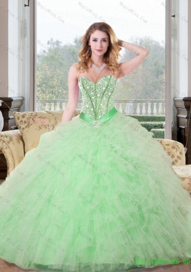 Remarkable Beading and Ruffles Sweetheart 2015 Quinceanera Dresses in Apple Green