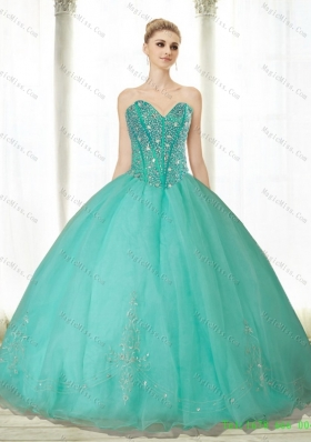Popular Beading and Appliques Turquoise Sweetheart Quinceanera Dresses for 2015