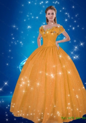 991556375e3 2015 Summer Elegant Cinderella Quinceanera Dresses with Hand Made Flowers
