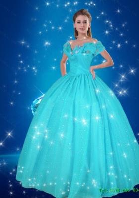 8335ed7126b Elegant 2015 Summer Off the Shoulder Blue Cinderella Dresses for Pary