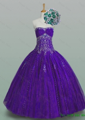 Flirting Strapless 2015 Quinceanera Dresses with Beading and Appliques