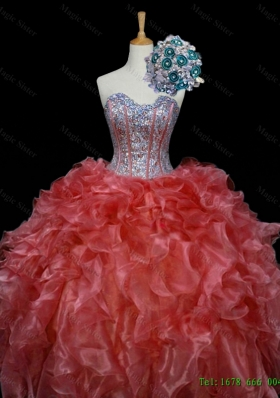 New Style Ball Gown 2015 Quinceanera Dresses with Sequins and Ruffles in Rust Red