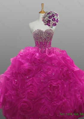 2015 Elegant Sweetheart Beaded Quinceanera Dresses with Rolling Flowers