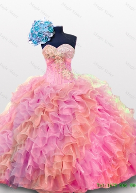 2015 Perfect Sweetheart Quinceanera Dresses with Sequins and Ruffles