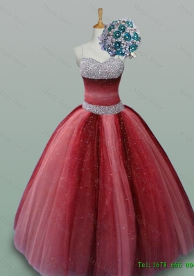 Fashionable Spaghetti Straps 2015 Quinceanera Dresses with Beading in Wine Red