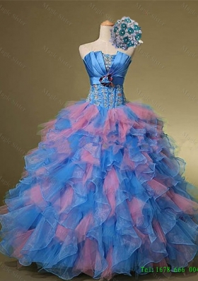 2015 Real Sample Strapless Quinceanera Dresses with Hand Made Flowers and Beading