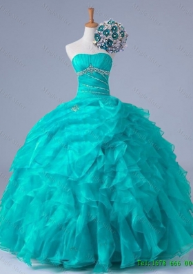 2015 Real Sample Beaded Quinceanera Dresses in Organza