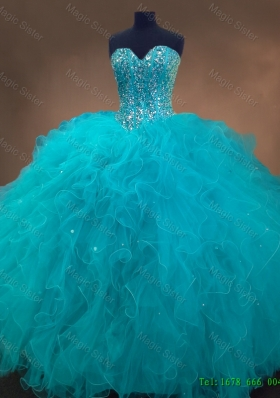 2016 Elegant Pretty Beaded and Ruffles Quinceanera Gowns in Aqua Blue
