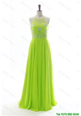 Vintage Halter Top Spring Green Long Prom Dresses with Beading