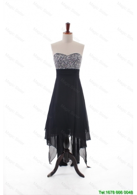 Custom Made Empire Strapless Beaded High Low Prom Dresses in Black