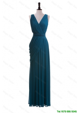Gorgeous V Neck Belt and Ruching Long Prom Dresses