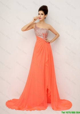 New Arrivals One Shoulder Prom Dresses with High Slit and Sequins