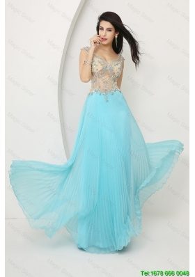 Cheap Perfect Beaded Straps Zipper Up Prom Dresses with Cap Sleeves