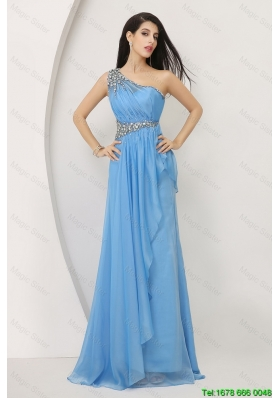 Discount Beaded Baby Blue Prom Dresses with One Shoulder