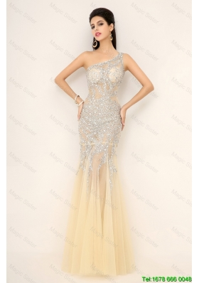 Elegant Discount Champagne One Shoulder Prom Dresses with Side Zipper