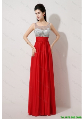 New Style Fashionable Side Zipper Red Prom Dresses with Scoop