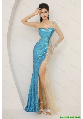 Luxurious Sequined Multi Color Prom Dresses with Long Sleeve