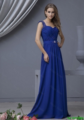 2016 Perfect Straps Beading Long Prom Dresses in Royal Blue