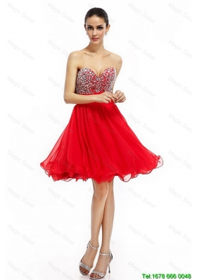 Romantic A Line Sweetheart Beaded Prom Dresses in Red