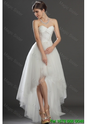 Fashionable Beading and Appliques High Low Wedding Dresses in Tulle